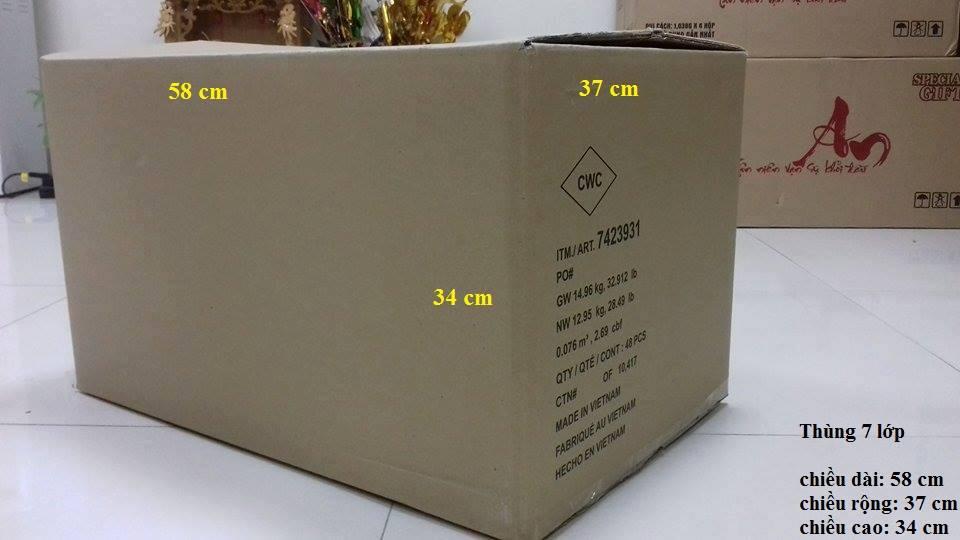 Thùng carton 7 lớp mới có kích thước 58 x 37 x 34 (cm)