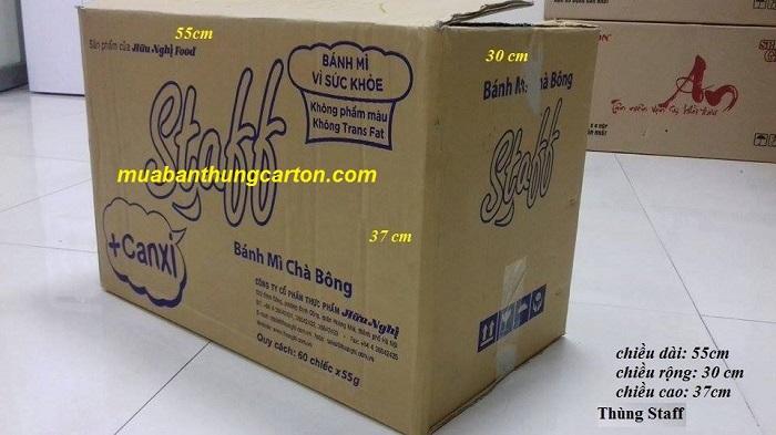 Thùng carton cũ 3 lớp staff kích thước dài x rộng x cao: 55 x 30 x 37 (cm)