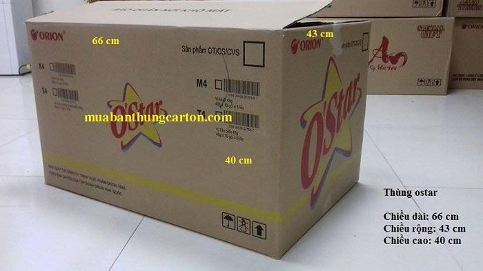 Thùng carton cũ 3 lớp o'star kích thước dài x rộng x cao: 66 x 43 x 40 (cm)