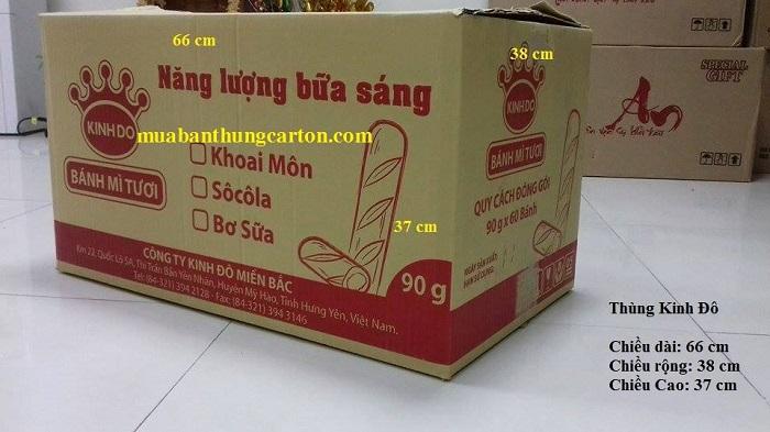 Thùng carton cũ 3 lớp kinh đô kích thước dài x rộng x cao: 66 x 38 x 37 (cm)