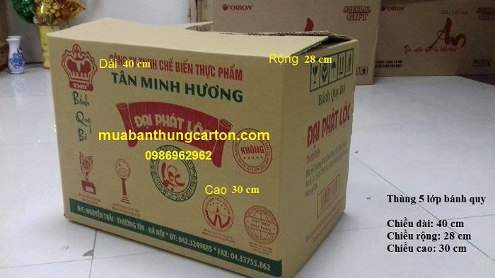 Thùng carton 5 lớp cũ kích thước 40 x 28 x 30 (cm)